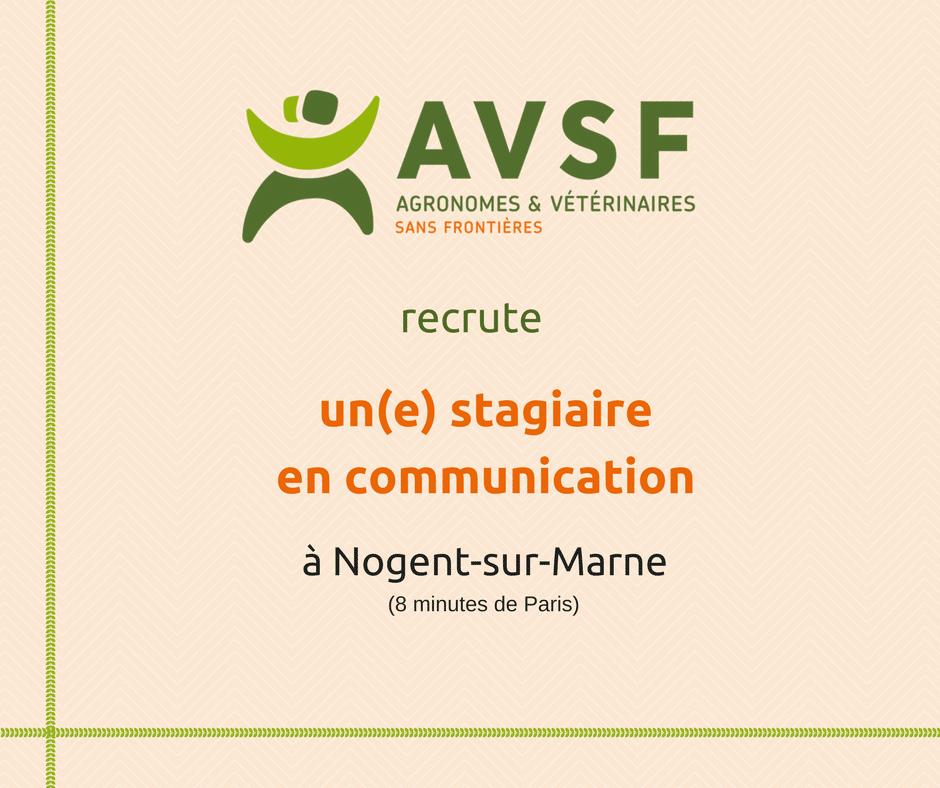 AVSF recherche un(e) stagiaire en  communication à Paris