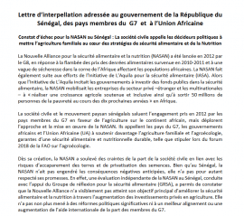 Lettre d'interpellation face au constat d'échec de la NASAN au Sénégal
