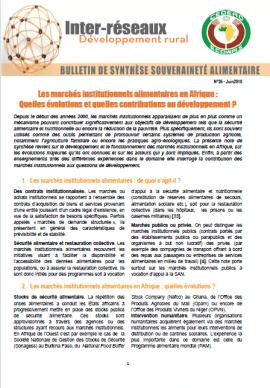 Bulletin de Synthèse n°26 : Les marchés institutionnels alimentaires en Afrique : Quelles évolutions et quelles contributions au développement ?