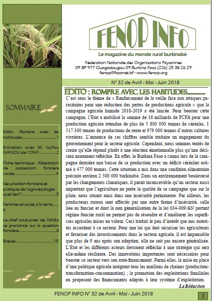 Bulletin FENOP Info N°32