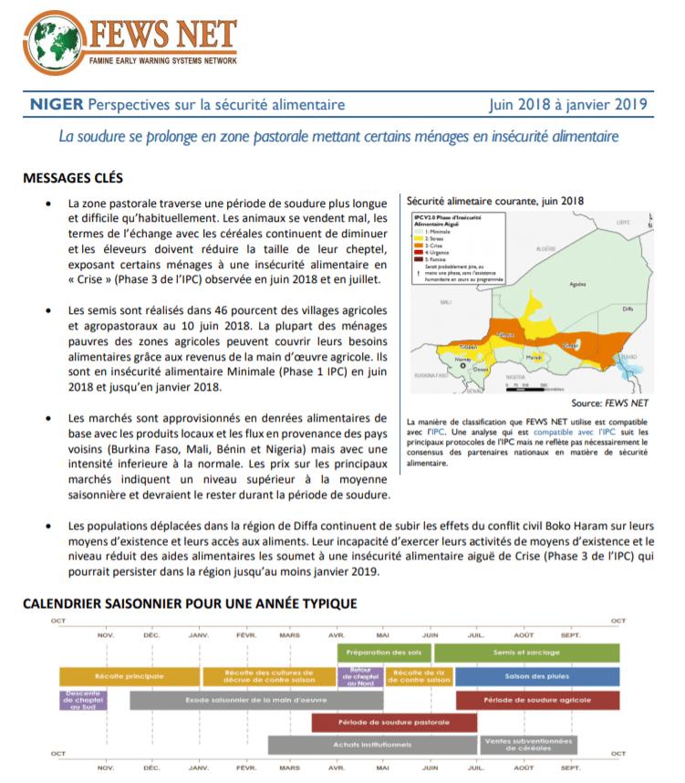 Rapport: Analyse des perspectives de la sécurité alimentaire au Niger, Juin 2018 à Janvier 2019