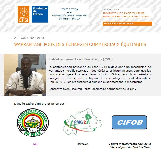 Entretien: Au Burkina Faso, warrantage pour des échanges commerciaux équitables