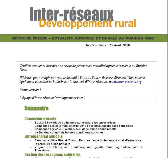 Revue de presse Burkina, 25 juillet au 25 août 2018