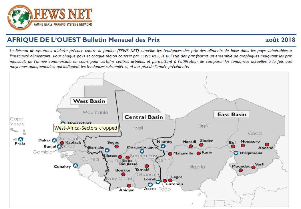 Bulletin : tendances des prix des denrées alimentaires au mois d'Août en Afrique de l'Ouest