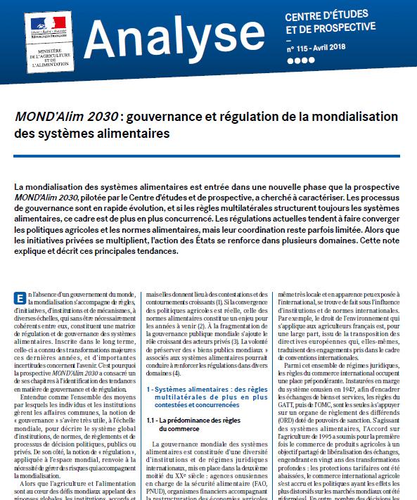 MOND'Alim 2030 : gouvernance et régulation de la mondialisation des systèmes alimentaires