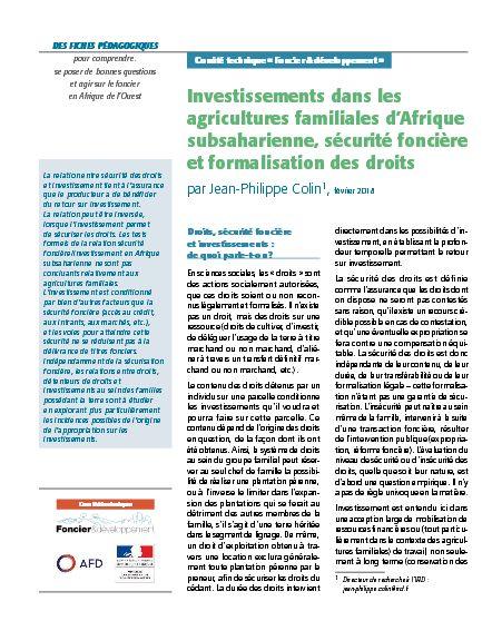 Fiches pédagogiques : Investissements dans les agricultures familiales d'Afrique subsaharienne, sécurité foncière et formalisation des droits