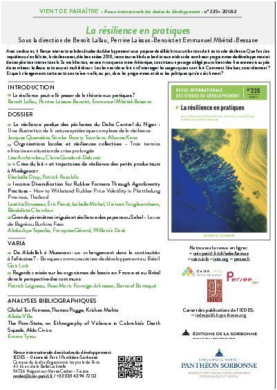 Revue internationale des études du développement : La résilience en pratique