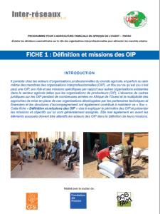 """Publications - Projet """"Interprofessions en Afrique de l'Ouest"""""""