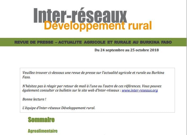 Actualité agricole Burkina : la revue de presse du 24 septembre au 25 octobre 2018