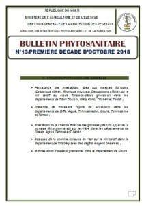 Bulletin phytosanitaire n°13 - 1ère décade octobre 2018