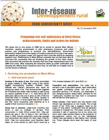 Food sovereignty brief n°23 - Promoting rice self-sufficiency in West Africa:  achievements, limits and issues for debate