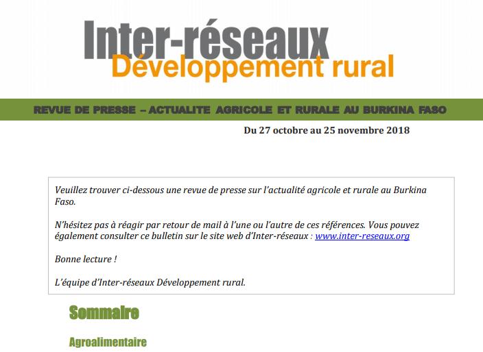 Actualité agricole Burkina : la revue de presse du 27 octobre au 25 novembre 2018