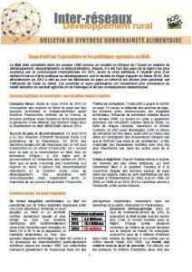 Bulletin de synthèse n°28 - Politiques agricoles - Mali