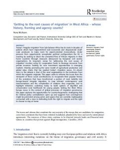 Article: 'Getting to the root causes of migration' in West Africa