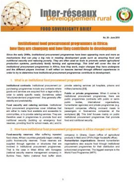 Food sovereignty brief n°26 : Institutional food procurement programmes in Africa: how they are changing and how they contribute to development