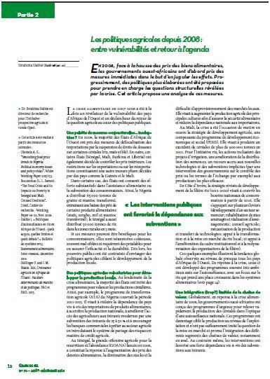 Les politiques agricoles depuis 2008 : entre vulnérabilités et retour à l'agenda