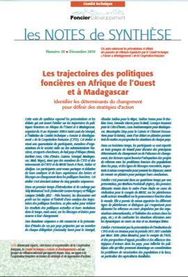 Note de synthèse: Les trajectoires des politiques foncières en Afrique de l'Ouest et à Madagascar