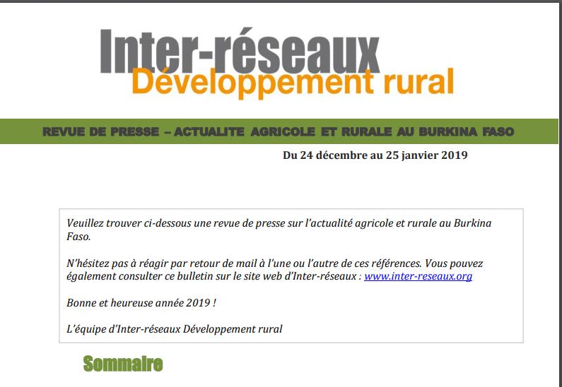 Actualité agricole au Burkina : la revue de presse du 24 décembre au 25 janvier 2019