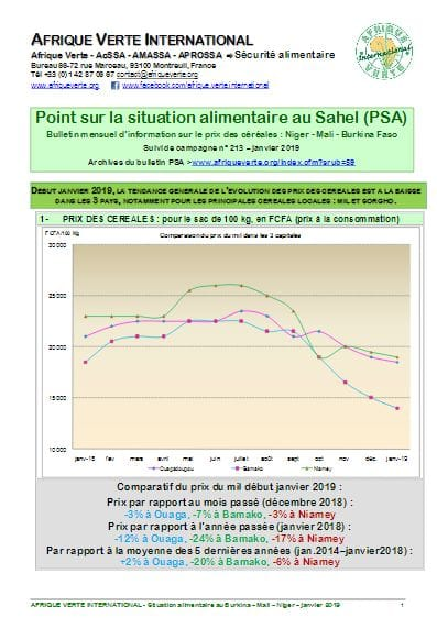 Point Situation Alimentaire n°213 - janvier 2019