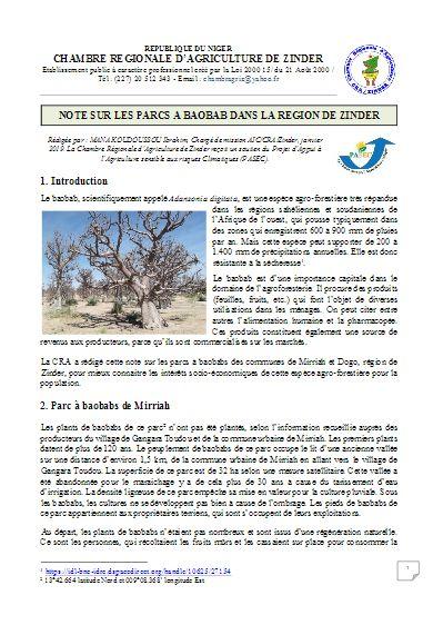 Note : Parcs à baobab - région de Zinder