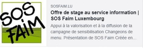 Campagne « changeons de menu » : SOS Faim Luxembourg recherche un stagiaire en appui au service information