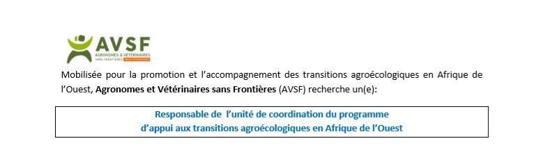 AVSF recrute à Lomé, un Responsable de l'Unité de Coordination du projet d'appui à la transition agro-écologique en Afrique de l'Ouest