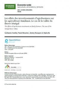 Article: Les effets des investissements d'agrobusiness sur les agriculteurs familiaux dans la vallée du fleuve Sénégal