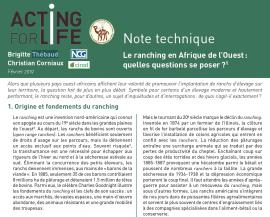 Note technique : Le ranching en Afrique de l'Ouest