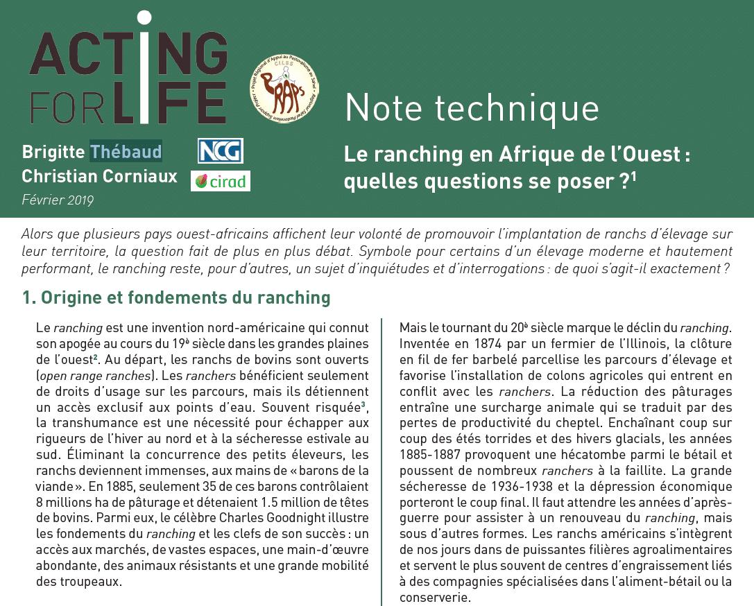 Note technique : Le ranching en Afrique de l'Ouest, quelles questions se poser ?