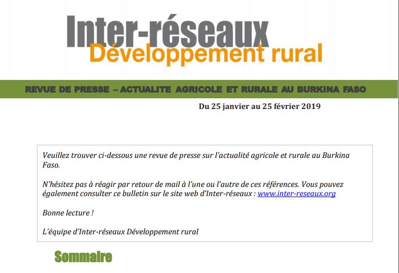 Actualité agricole au Burkina : la revue de presse du 25 janvier au 25 février 2019