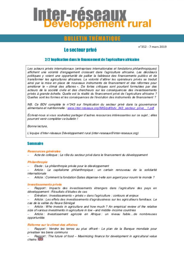 Bulletin de veille n°352 - Spécial Secteur privé 2/2