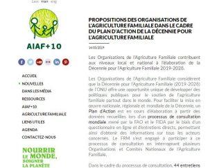 Position : Propositions de l'organisation de l'agriculture familiale dans le cadre du plan d'action de la décennie pour l'agriculture familiale