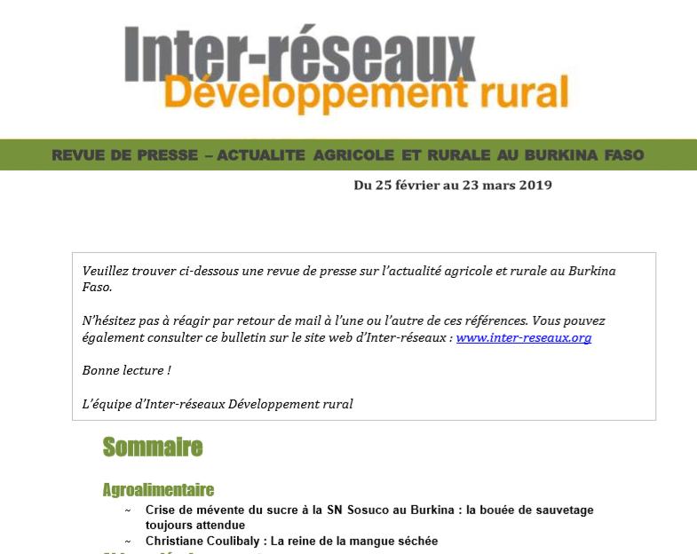 Actualité agricole au Burkina : la revue de presse du 25 février au 23 mars 2019