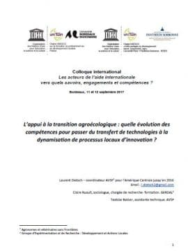 Communication - L'appui à la transition agroécologique : quelle évolution des compétences pour passer du transfert de technologies à la dynamisation de processus locaux d'innovation ?