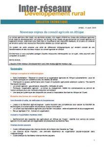 Bulletin de veille n°355 - Spécial conseil agricole