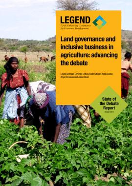 Rapport: Gouvernance foncière et inclusion dans les investissements agricoles - faire avancer le débat