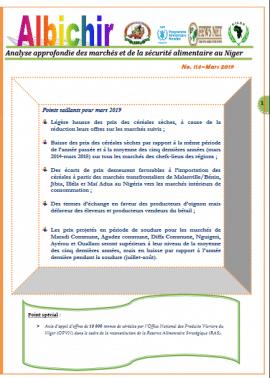 Bulletin Albichir: Situation des marchés et de la sécurité alimentaire au Niger - Mars 2019