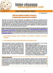 Food sovereignty brief n°27 : What roles should the private sector play in agricultural and food policy in Africa ?