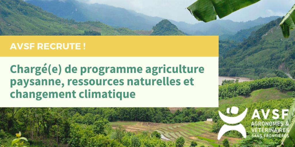 AVSF recherche un(e) chargé(e) de programme agriculture paysanne, ressources naturelles et changement climatique