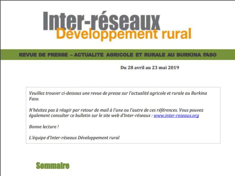 Actualité agricole au Burkina : la revue de presse du 28 avril au 23 mai 2019