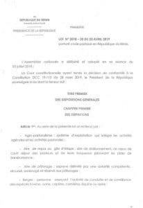 Loi : Code pastoral du Bénin - avril 2019
