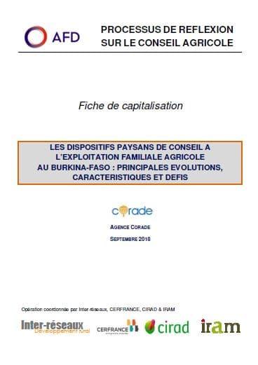 Capitalisation : Burkina Faso - Dispositifs paysans de conseil à l'exploitation familiale agricole