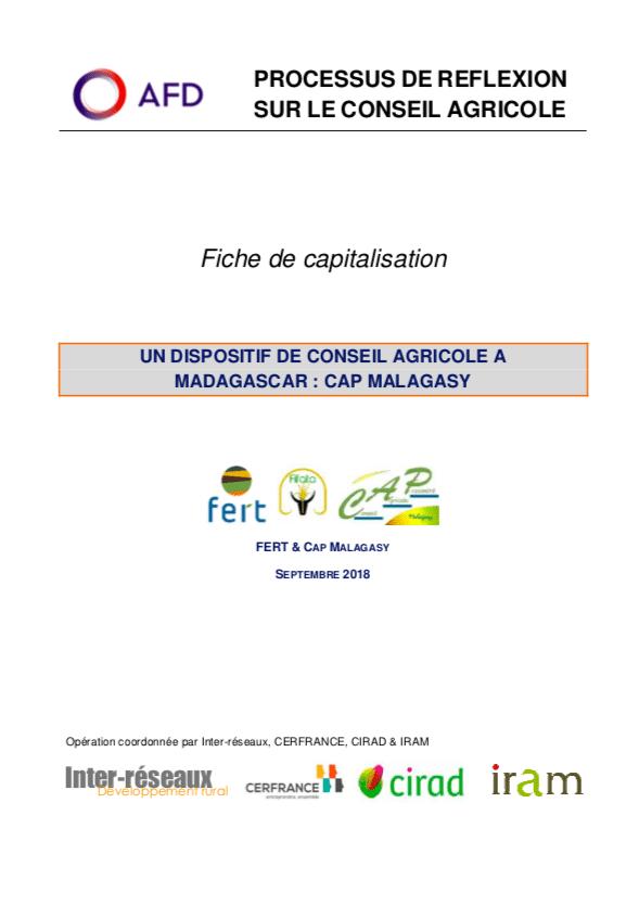 Capitalisation - Un dispositif de conseil agricole à Madagascar : Cap Malagasy