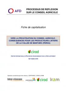 Capitalisation - Vers la privatisation du conseil agricole : conséquences pour les producteurs laitiers de la vallée de Mantaro (Pérou)