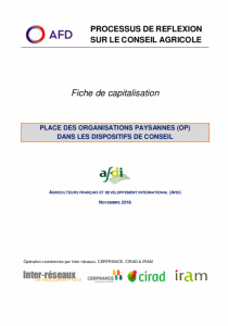 Capitalisation - Place des organisations paysannes (OP) dans les dispositifs de conseil