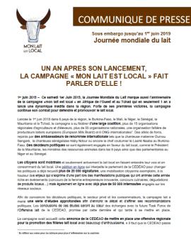 """Communiqué de presse: 1er anniversaire de la campagne """"mon lait est local"""""""