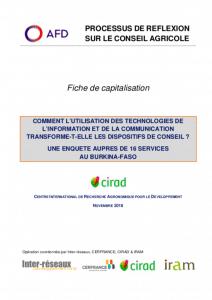 Capitalisation - Comment l'utilisation des technologies de l'information et de la communication transforme-t-elle les dispositifs de conseil ? Enquête auprès de 16 services au Burkina Faso