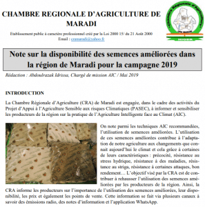 Note sur la disponibilité des semences améliorées dans la région de Maradi pour la campagne 2019