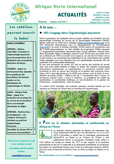Bulletin : Afrique Verte Internationale - Actualités, juin - 2019