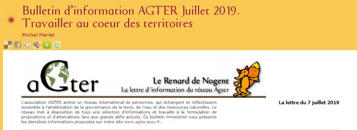 Bulletin trimestriel : AGTER revient sur ses travaux sur le développement territorial